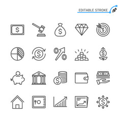 Business and investment line icons editable stroke vector