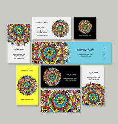 business cards design floral mandala vector image