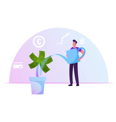 businessman watering money tree with dollar vector image