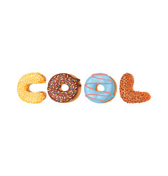 cartoon donut and word cool vector image