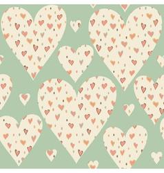 Cartoon hearts and circles seamless pattern vector image