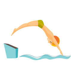 caucasian man jumping in the swimming pool vector image