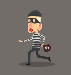 character design thief stealing with bag of money vector image