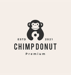 chimp monkey donuts hipster vintage logo icon vector image