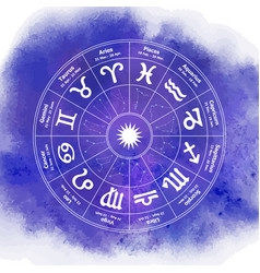 circle with signs zodiac on watercolor vector image
