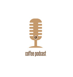 coffee podcast with microphone and bean design vector image