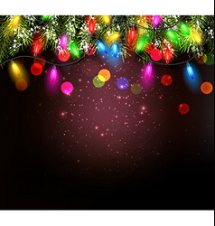 Color Christmas garland on vinous background vector