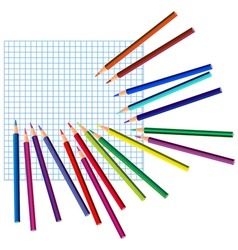colored pencils on a squared paper vector image