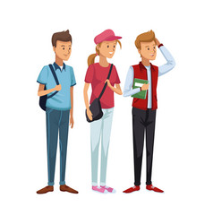 colorful men students standing and girl in casual vector image