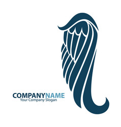 Company name logo emblem with blue angel wing on vector