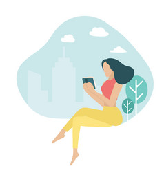 Confidence girl reading book young woman in vector