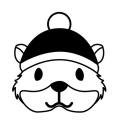 Cute hamster with warm hat christmas vector