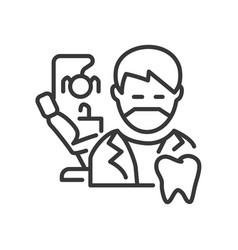 dentist - line design single isolated icon vector image