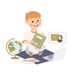 distance lesson boy studying online using vector image