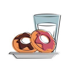 Donut pastry with milk food related image vector
