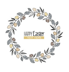 easter frame with branches and leaves vector image