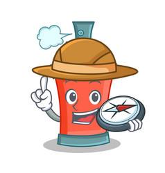 Explorer aerosol spray can character cartoon vector