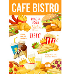 fast food menu restaurant takeaway poster vector image