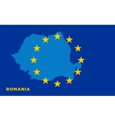 Flag of European Union with Romania on background vector