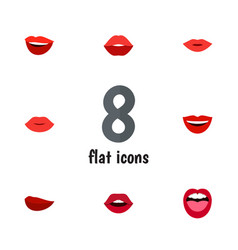 flat icon lips set of smile laugh mouth and vector image