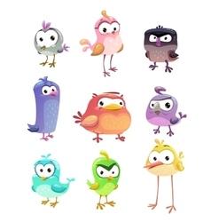 Funny cartoon standing birds set vector