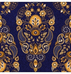 Golden and blue floral seamless pattern vector image