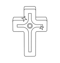 Golden cross easter single icon in outline style vector