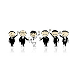 Groom with friends stag party for your design vector