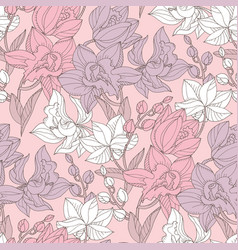 hand drawn orchid floral seamless pattern vector image