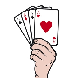 Hand holding playing card-gambling vector