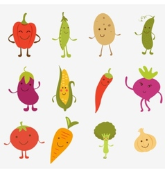 Happy farm vegetables vector