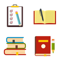 homework study school icons set flat style vector image