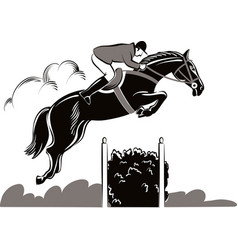horse and rider during a jumping competition vector image