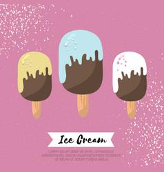 ice-creams melting ice cream on pink vector image