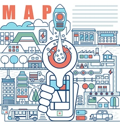 Infographics elements concept local map vector