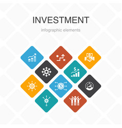 Investment infographic 10 option color design vector