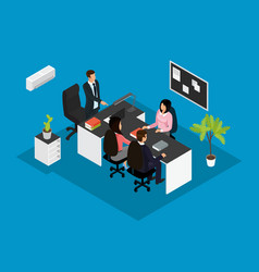 isometric business teamwork concept vector image
