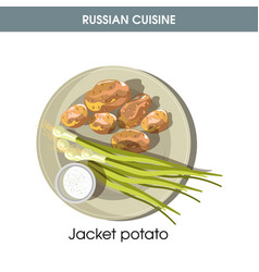 jacket potato with fresh leek from traditional vector image