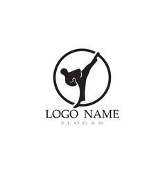 karate and taekwondo logo fight vector image