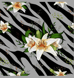 lily bouquet on gray tiger skin pattern seamless vector image