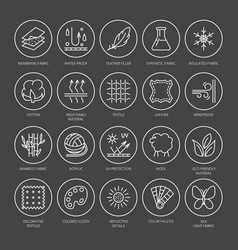 line icons of fabric feature garments vector image