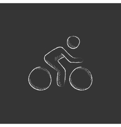 Man riding bike Drawn in chalk icon vector