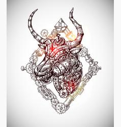 Mechanical bull hand drawn vector