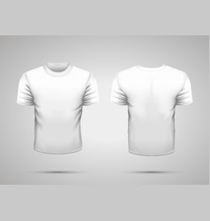 Mockup of blank realistic white t-shirt with vector