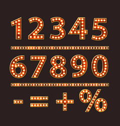numbers with bulb lamps red light vector image