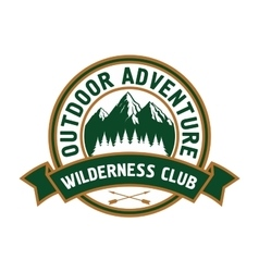 Outdoor adventure badge with mountain landscape vector image