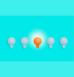 outstanding unique orange light bulb glowing vector image