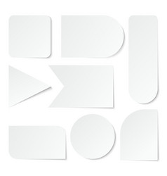 Paper stickers blank white labels tags of vector