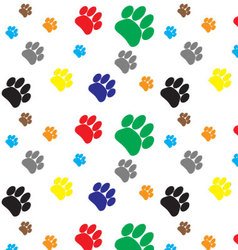 Pattern color dog animal foot print vector