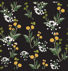 Pattern yellow and white wildflowers vector